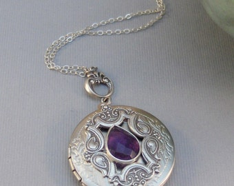 February,Amethyst,Amethyst,Locket,Antique Locket,Silver Locket,Purple Locket,Purple STone,Gemstone Locket,Gemstone Necklace,Genuine Gemstone