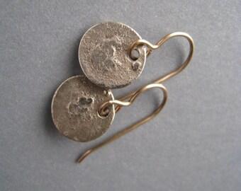 Textured Earrings - Bronze Earrings - Disk Earrings - Small Earrings