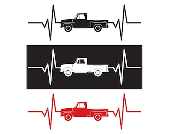 1965 Chevy / Chevrolet Pickup Truck Heartbeat Decal / Sticker - IDS-081