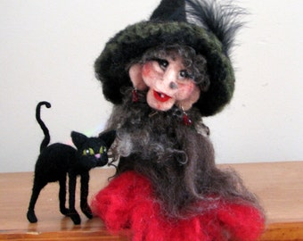 Halloween witch Halloween decor Waldorf witch Waldorf mobile Needle felted Art doll - Soft sculpture