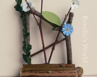 Fairy couch, bench with blue flowers, dollhouse miniature 1/12
