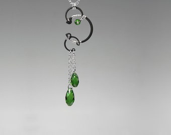 Green Swarovski Crystal Pendant, Fern Green Crystals, Industrial Jewelry, Wedding Jewelry, Statement Jewelry, Gift For Her, Hyperion v10