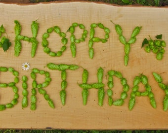 HOPPY Birthday on wood  Greeting Card Blank inside