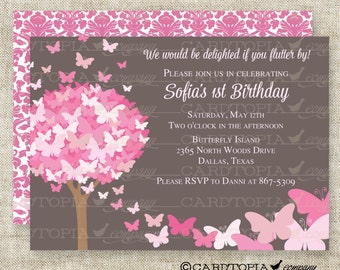 Butterfly Birthday Party Invitation in Pink and Gray Personalized Custom Digital Printable File with Professional Printing Option