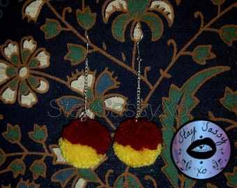 Deep Red & Mustard Mix Pom-Pom Drop Earrings