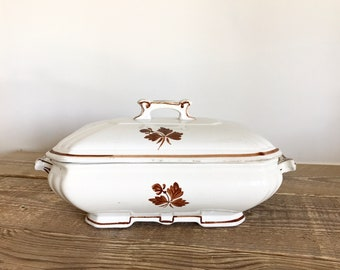 Vintage Alfred Meakin England Royal Ironstone Tea Leaf Covered Vegetable Dish Tureen