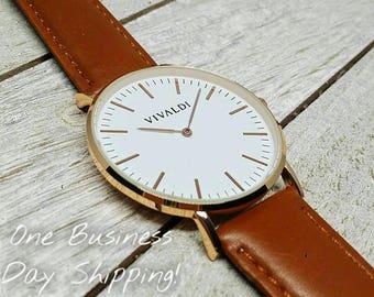 Fathers Day, Men's Watch, Women's Watch, Grandfather, Best Man, Wedding Gift, Groomsman Gift, Birthday Gift, Anniversary Gift, Brown Leather