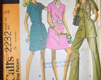 Vintage 60's Sewing Pattern McCall's 2232 A-line Dress Pants Scarf Bust 34  inches Complete Uncut