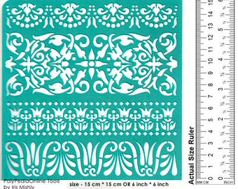 "Stencil Stencils Pattern border Template, Reusable, Adhesive, Flexible, Craft stencil, Painting stencil, Wall | ETHNIC BORDER | 6""/15 cm"