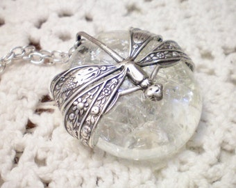 D R A G O N F  L Y  - Refractured Glass and Antiqued Silver Plated  Pendant