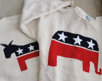 American sweaters:  Flag or Political Party. Red White Blue Republican Elephant Democrat Donkey Stars and Stripes Patriotic All-American