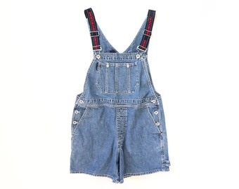 90s DKNY Overalls 1990s Shortalls Donna Karen New York SPELL OUT Denim Jean Jumper Romper Shorts Baggy Bibs Faded Blue Worn In Medium