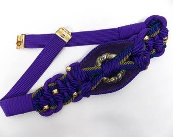 1980's Purple Stretch Belt Medium, Large