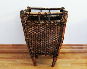 "Antique ASIAN WOVEN STORAGE Basket w Wood Handles and Feet / 18"" Tall Asian Grain - Chinese Utility Storage Basket /Asian Decor-Housewarming"