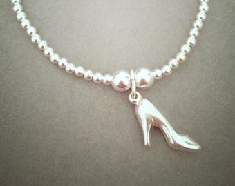 Sterling Silver High Heel Shoe Charm Bracelet
