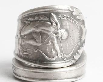 Zodiac Ring, Sagittarius Ring, Sterling Silver Spoon Ring, Astrology Ring, Sagittarius Constellation Jewelry, Adjustable Ring Size (3158)