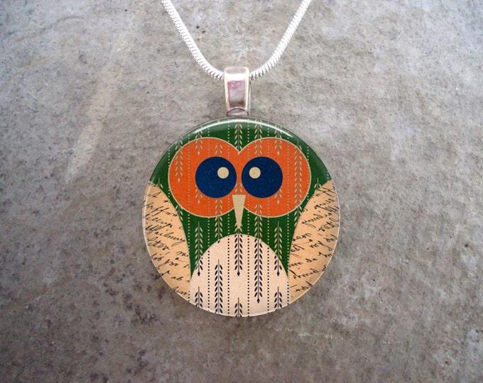 Owl Jewelry - Glass Pendant Necklace  - Owl 19