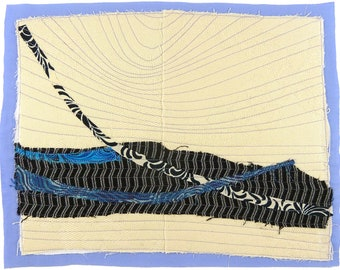 10.5.2012 small art quilt, contemporary, abstract, rectangular, black, cream, periwinkle, blue, grey