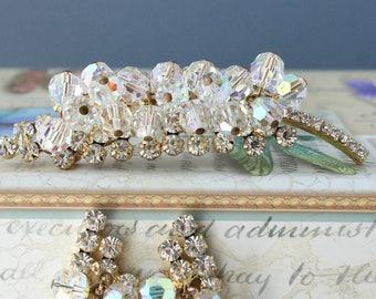 Vintage JULIANA Crystal Beads Rhinestone Brooch Earrings