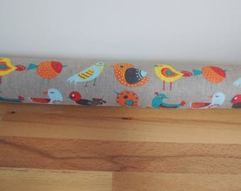 Coloured birdies draft Stopper. Light blocker. Door or window snake. Draught excluder. House and home accessory. window draft stop.