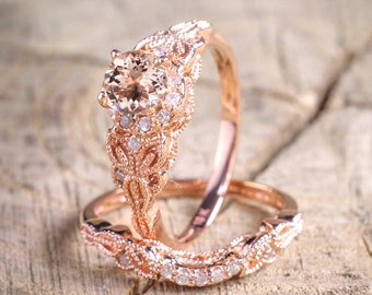 Limited Time Sale 1.50 carat Round Cut Morganite and Diamond Halo Bridal Wedding Ring Set in Rose Gold: Bestselling Design Under Dollar 500