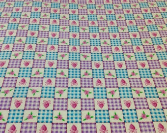 Plaid blue purple, pink hearts and flowers, fabric, top quality, valentine soft baby girl flannel, sold by the yard, baby blanket fabric