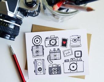 Set of Four Camera Folded Note Cards, Stationery, Hand Drawn, Illustration, Photography, Vintage Camera