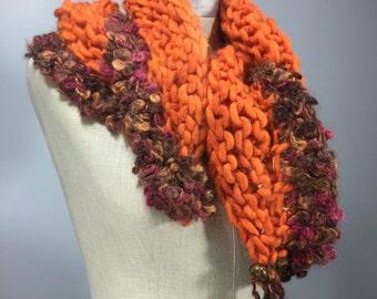Mindful Wrap, Wearable Fiber Art-Tibetan Dzi Beads on a Mindfulness Mantle in Orange, Mauve, Brown Alpaca, Wool, and Mohair
