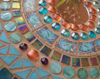Contemporary Mosaic Wall Hanging Circles of Turquoise