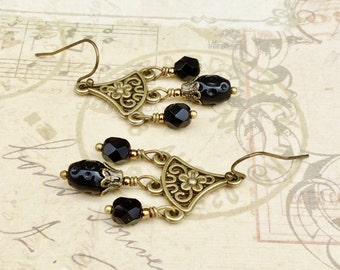 Black Earrings, Jet Black Earrings, Black Chandelier Earrings, Flower Earrings,Long Black Earrings, Czech Glass Beads, Unique Earrings,Gifts