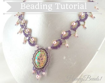 PDF-file Beading Pattern Queen Beth Necklace PDF-file Beading Tutorial by HoneyBeads1