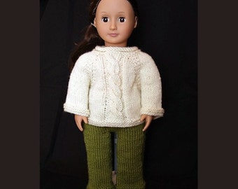 Cabled Sweater and Pants Set (knitting pattern) for 18 inch Doll
