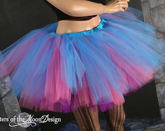 Adult tutu skirt Fantasy Peek a boo three layer dance costume roller derby gogo run halloween - You Choose Size --  Sisters of the Moon