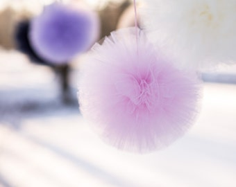 6 mixed size tulle pom pom set - your colors - luxurious wedding party decorations / tutu / fabric poms / hanging pompoms / tulle balls