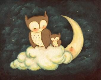 Goodnight Little Owl Print 10x8 - Children's Art, Nursery Art, Moon, Night, Bedtime, Stars, Baby, Cute, Blue, Yellow, Bedtime, Starry Sky