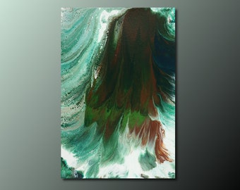 Art Print: Surging Waves; abstract art fluid art acrylic pour painting; wall art print; seascape painting; housewarming gift