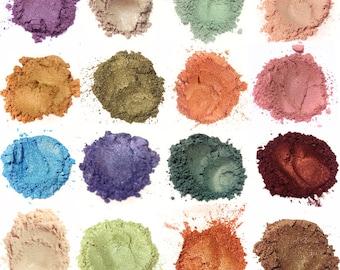 25 Pc Mineral Eye Shadow CLAMSHELL SAMPLE SET - Natural Mineral Makeup Eye Color - Eye Shimmerals