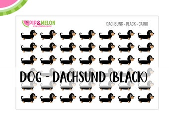 Dog Stickers Dachsund Black| 1/2 inch Stickers | 42 Kiss-Cut Stickers |  | CA198