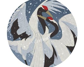 Red Crowned Crane Greetings Card