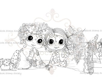 INSTANT DOWNLOAD digitale Digi Stamps Big Eye Big hoofd poppen Digi Kickin terug Besties door Sherri Baldy