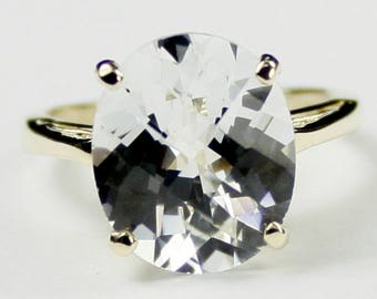 Silver Topaz, 14Ky Gold Ring, R055