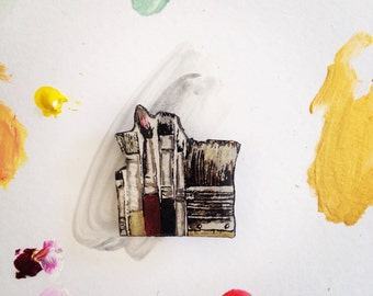 Wearable Art Brooch: Brushes