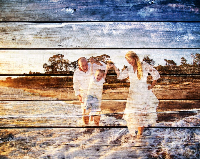 Custom Family Portrait Wood Anniversary Gift Wood Print Couple Portrait Gift Gift For Couple Rustic Decor Wall Art Photo On Wood  20x30