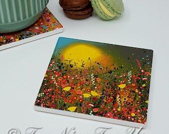 Original Design Ceramic Coaster with 'Yellow' Art Print