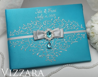 Wedding guest books Wedding mint Personalized guest book Minted wedding Guest book for wedding Mint and grey wedding