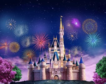 Vinyl Fairy Tale Castle Night Tower Fireworks Photography Studio Backdrop Background