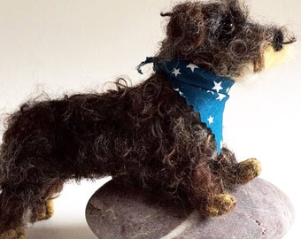 Needle felted wool mini wirehaired dachshund puppy dog