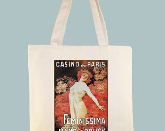 Casino de Paris - Femminisima French Vintage Magainze Cover Natural or Black Canvas Tote - Selection of Sizes Available