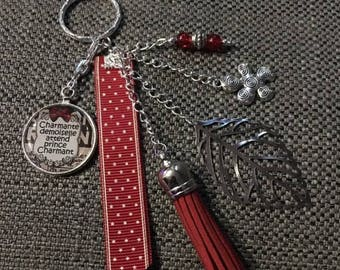 """"""""""" keychain / bag """"lovely lady is waiting for prince charming"""""""