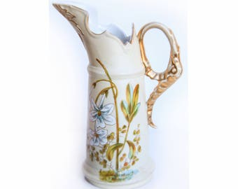 Antique Victoria Carlsbad Austria Porcelain Syrup Pitcher ~ Vintage Austrian China ~ Victorian / Edwardian Home Kitchen Dining Decor